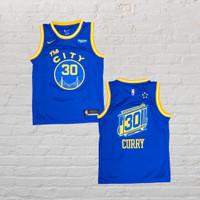 Baju Jersey Basket Swingman NBA Steph Curry Golden State The City Biru