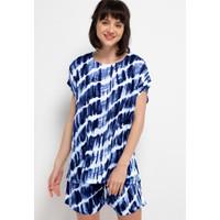 Nade Japan FT055 AMS Baju Tidur Tie Dye Slanted Wanita Set piyama biru