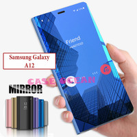 Samsung A12 2020 Flip Case Mirror Cermin Clear View Cover Casing Stand
