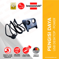 Brennenstuhl Desktop-Power 2-Lubang dengan USB-Charger - Black