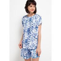 Nade Japan FT060 AMS Baju Tidur Tie Dye Marmer Wanita Set Piyama Biru