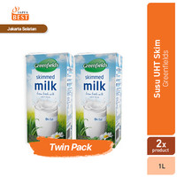 Susu UHT Skimmed Greenfields 1L - Twin Pack
