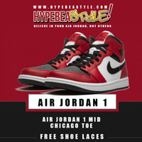 SEPATU AIR JORDAN 1 MID CHICAGO TOE 554724069 ORIGINAL SNEAKER - 44