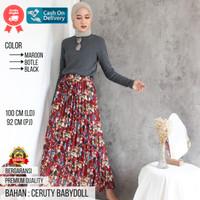 Iza Skirt Rok Jeans Plisket Panjang Premium/Bawahan Wanita Muslimah