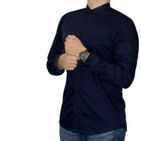 Kemeja Polos Pria Formal Putih Hitam Navy Biru Dongker Maroon Blue - navy