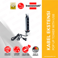 Brennenstuhl Kabel Ekstensi Pop-Up Tower With Pengisi Daya USB