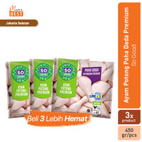 So Good Ayam Potong Paha Dada Premium [3 Pack x 450 gr]