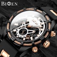 BIDEN jam tangan pria Tali silikon Display Kuarsa Tahan Air Jam Pria