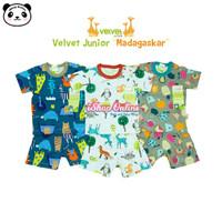 Setelan Oblong Pendek Velvet Junior Kancing Pundak Baju Piyama Bayi