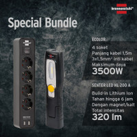 Brennenstuhl Bundle: Senter LED Isi Ulang HL200A+ ECOLOR 4Soket USB