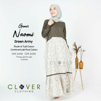 Clover Clothing Gamis Naomi / Gamis Syari - Green Army, S