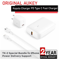 Aukey Bundling TK-2 For iPhone 11 12 PD & QC Charger Power bank Kabel
