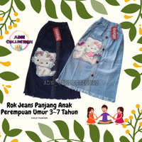Rok Jeans Anak Perempuan Panjang Rawis Karakter || Estimasi 3-7 Tahun - Navy, 3