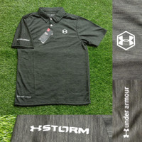 KAOS POLO SHIRT CASUAL SPORTY UAA STORM PREMIUM DARK GREY GRADE ORI
