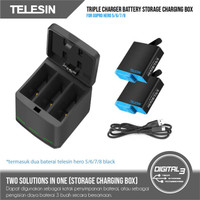 Telesin 3 Slot Battery Charger Plus 2 Baterai GoPro Hero 5 6 7 8 Black