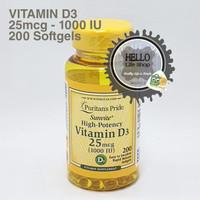 Puritans Pride Vitamin D3 25 mcg (1000IU) - 200 sgels