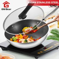 GM Bear Wajan Penggorengan Stainless Steel 1242-Fry Pan Stainless
