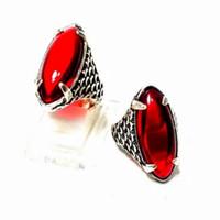 cincin batu merah siam model pandan
