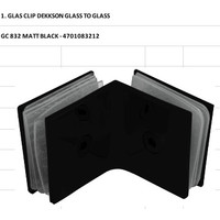 GLASS CLIP DEKKSON GLASS TO GLASS GC832 MATT BLACK Konektor Kaca Hitam
