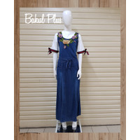 Baju Overall Jeans Bordir Jumpsuit Rok Panjang Wanita