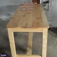 Meja kayu jatibelanda 120x60 vernis halus - meja makan restoran cafe
