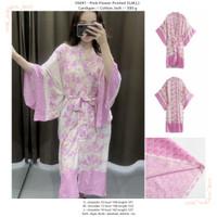 outer panjang jumbo pink motif bunga-bunga kimono