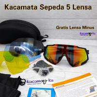 Kacamata Sepeda Sporty 5 Lensa Polarized UV 400 Gratis Lensa Minus