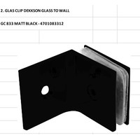 GLASS CLIP DEKKSON GLASS TO WALL GC833 MATT BLACK Konektor Kaca Hitam