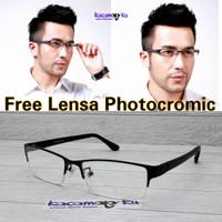 Kacamata Pria Half Frame Sporty Lensa Photocromic Package min,Cyl or +