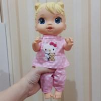 setelan piyama boneka Baby Alive Mell Chan Doll motif Hello Kitty