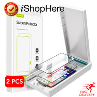 2 buah HD Full Cover Tempered Glass Anti Gores iPhone X XR XS Max - iPhone X / XS