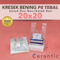 Kresek Bening Transparan 20 x 20 PE TEBAL untuk Box Dus 20x20 cm
