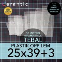 OPP LEM 25 x 39 +3 cm Plastik Bening Seal Bungkus Roti Undangan Baju