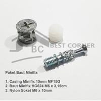 Baut Knock Down Nanas / Minifix komplit set ( Skrup, Casing, Fisser )