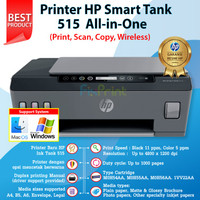 Printer HP Smart Tank 515 Print Scan Copy WiFi Wireless Tinta GT53GT52