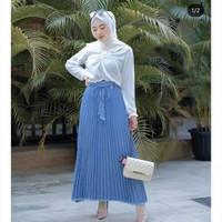 Rok plisket jeans premium denim bawahan wanita muslim