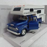 diecast 1:32 kinsmart 1955 chevy stepside pickup(truck camper).biru