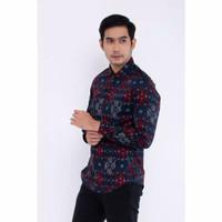 Kemeja Batik Songket Hitam Lengan Panjang / Baju Pria Formal
