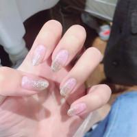 24pc Kuku Palsu / Fake Nails Nailart LEM Wedding Bening SILVER Glitter