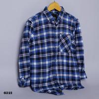 kemeja flanel planel flannel pria blue white & hitam
