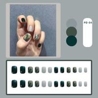 24pc Kuku Palsu / Fake Nails / Nailart Plus LEM Hijau Army Glitter