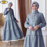 Gamis Katun Zara GZ0303 Blue/ Gamis Remaja/ Gamis Kotak/ Gamis Renda