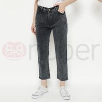 Celana Panjang Wanita Jeans Boyfriend Snow Black Stretch - Fireweed