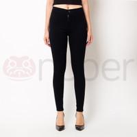 Celana Panjang Jeans Highwaist Wanita Stretch Black - Petunia