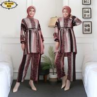 Setelan Celana Tunik Katun Rayon GZ0241 Red/ Setelan Kulot/ Setelan