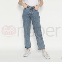 Celana Panjang Wanita Jeans Boyfriend Snow Blue Gold - Fireweed