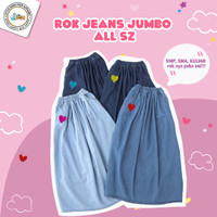 ROK JEANS PANJANG ALL SIZE - Dark blue jeans, All Size