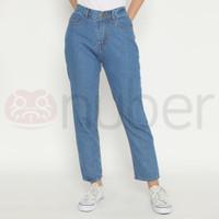 Celana Panjang Wanita Jeans Boyfriend Karet Blue non Stretch - Ren