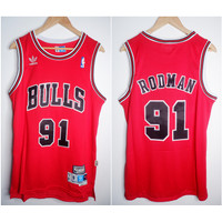 JERSEY BASKET NBA CLASSIC HWC BULLS #91 DENNIS RODMAN MERAH
