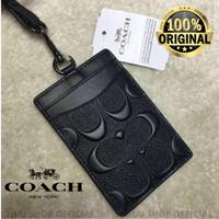 (100% ORIGINAL) Lanyard COACH Signature ID Card Holder FULLSET